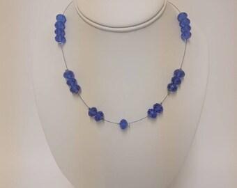 Deep blue single strand beaded necklace
