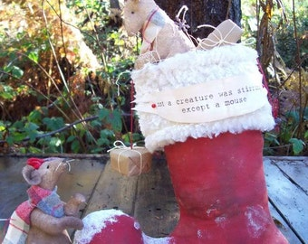 Except a MOUSE, Primitive, Folk Art, Santa Boot, MICE, Pattern By Pea Picker's Primitives