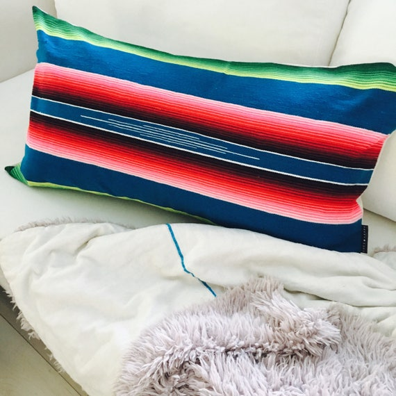 Boho Blue Serape Pillow Cover Cushion Pillow Rainbow Stripes Ethnic Bohemian Upcycled Mexican Blanket Colorful Striped Motif