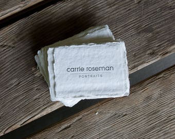 Handmade Paper business cards, or calling cards letterpress printed on handmade paper, set of 150. eco friendly
