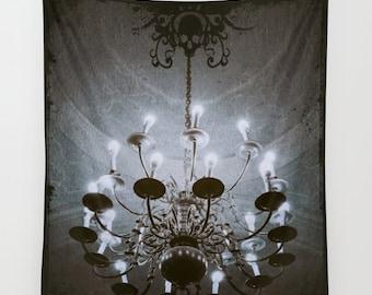 Chandelier Wall Tapestry, Goth Large Size Wall Art, Modern Decor, Skull Dark Tapestry, Dorm Art, Garden, Sepia Tapestry, Dorm Art, Steampunk