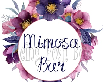 Dark Floral Mimosa Sign