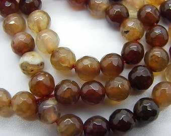 60-62 agate 6 mm Brown and beige agate 6 mm faceted sold yarn