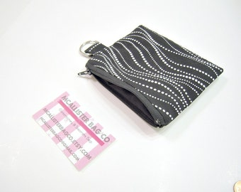 Black and White Wavy Dots Zippered Pouch