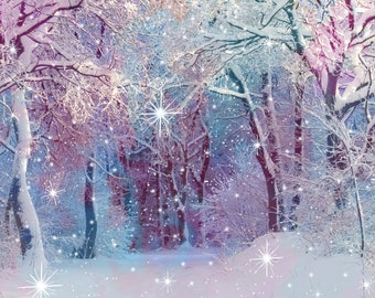 Fairy light backdrop Snowflakes digital background White forest Snow Photoshop overlay for photographer Magic texture download Photography