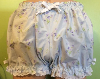 Plus size Bloomers, Extra Large Bloomers, Adult Bloomers, light purple Cotton Bloomers with pretty purple flowers