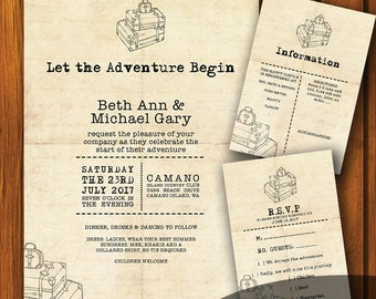 Let The Adventure Begin Wedding Invitation / Wanderlust Wedding Suite / Travel Wedding Invitation / Wanderlust  / Vintage / Wedding Suite