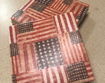 American Flag Coasters (set of 4)