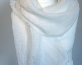 Scarf of pure airy linen white  Ready to ship
