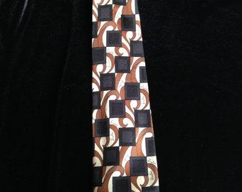 Vintage 70s Emilio Pucci Tie--Psychedelic--Brown--Black