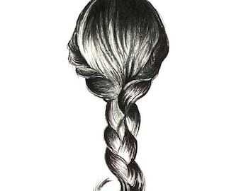 """Girl's Braid art print of an original drawing available 5x7"""" or 8x10"""