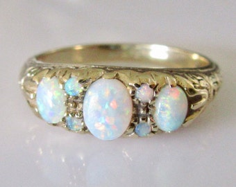 Vintage 9ct Gold Fire Opal Seven Stone Ring