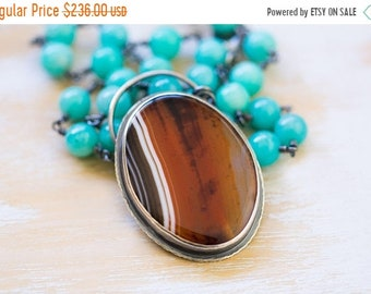 ON SALE Sardonyx Necklace, Amazonite Necklace, Sterling Silver Statement Necklace - Of Wind and Sand