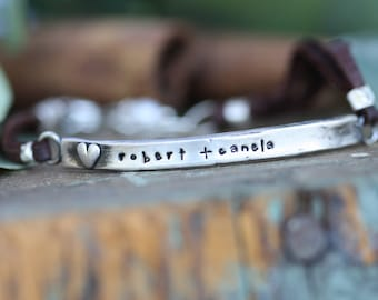 hand moulded heart personalized bar bracelet with leather or sterling chain