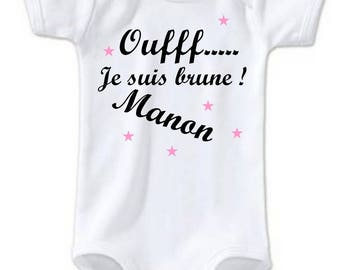 Bodysuit Oufff I Brown personalized with name