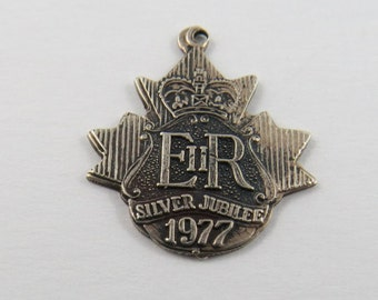 E R Silver Jubilee Sterling Silver Charm or Pendant.