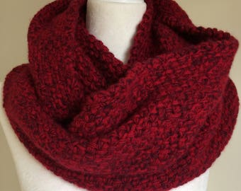 100% Recycled Cashmere Cowl in Ruby