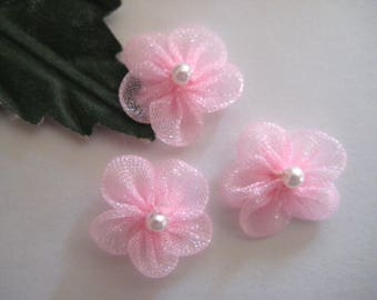 "Tiny Pink Organza Flower Appliques Small Pearl Center, Sewing, Crafting, Dolls Clothes, Embellishment, Party Favor, 30 pieces, 1/2"" (13 mm)"