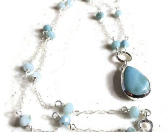 Larimar Necklace - Sterling Silver Jewelry - Gemstone Jewellery - Blue Pendant - Fashion - Chain