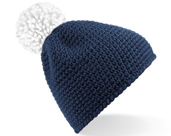 Three To The Sea Slope Side Waffle Bobble Beanie Hat