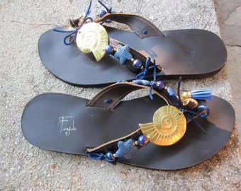 "Leather sandals with blue lava - dark brown greek  leather sandals  ""Sea shell"""