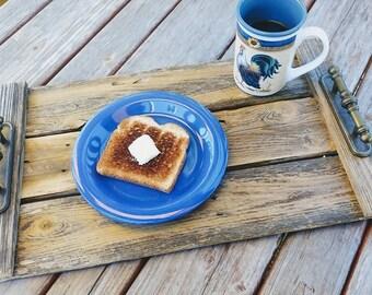 Rustic Serving Tray, Rustic Tray, Serving Tray, Farmhouse Tray, Wood Tray, Breakfast Tray, Rustic Decor, Farmhouse Decor, Upcycled Tray
