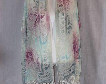 """Vintage SOHO White Rayon Silk Blend Blue Pink Purple Floral 84""""L x 20.5""""W Shawl Scarf"""