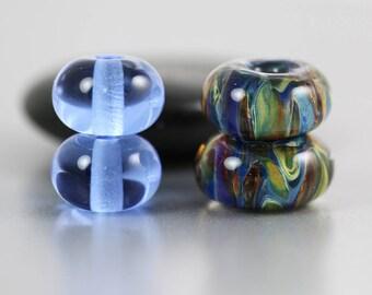 Lampwork Glass Beads - Set of 4 - Lampwork Beads - Blue Green Brown