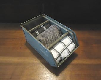 Vintage Industrial Metal Bin, Metal Nail Box, Industrial Box, Metal Box