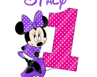 Disney Inspired Minnie Birthday Girl Purple Digital Download for iron-ons, heat transfer, T-Shirt, Totes, Bags,Scrapbooking,  YOU PRINT