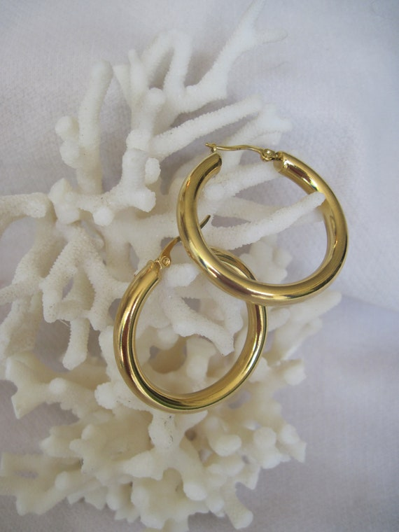 "Bold & Thick In Yellow Gold High Polish 1 1/2"" Or 2"" Diameter Hoop Earrings by Etsy"
