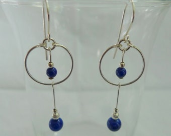Lapis Lazuli Hoop Drop Earrings