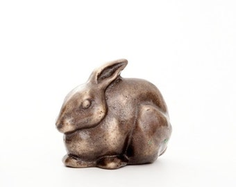 Seated Rabbit in Bronze - small figurine sitting