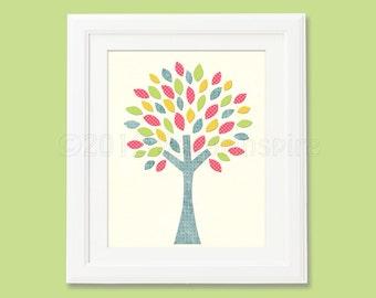 baby girl colorful nursery  Art Print, 8x10, Baby boy room, Kids Room Decor, Children Wall Art -  pink, yellow, blue, green, colorful