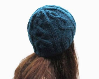 Deep ocean blue knit cable hat for women/ alpaca gray knit hat/ winter women hat/ Christmas gift hat/ custom color hat/ gray knit beanie hat