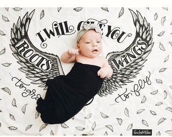 Lange - je vais donner vous ailes pour voler et les racines à se développer - Lange de bébé - bébé accessoires photo