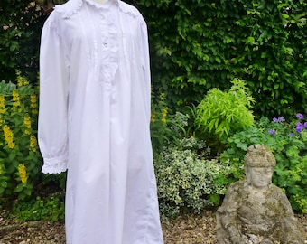 Antique English Cotton Nightshirt with Fine Pleats & Broderie Anglais Trim