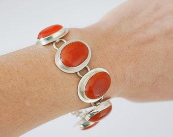 Carnelian Oval Sterling Silver Link Bracelet- Clearance