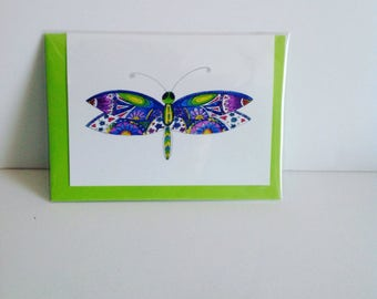 Dragonfly Card, Green and Blue Dragonfly Card,Dragonfly Pattern Card, Dragonfly Illustrated Card, Ink And Watercolor Card