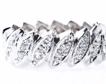 Marquise Shapes Diamonds 1.25 carats 14k White Gold Women's Eternity Band Ring