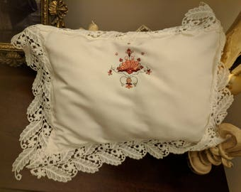 Hand Embroidered Baby Pillow Case with Lace trim