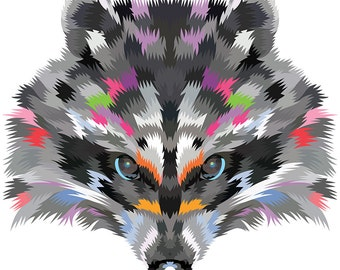 Raccoon. Cross Stitch pattern, Digital Download PDF. Geometric raccoon face design with color patches in his fur. Bright and Modern