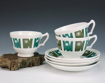 Crown Staffordshire Delamere Cups and Saucers - 3 Tea Cups, 4 Saucers - Elaine Williamson Design - Teal & Olive Green Design with Starburst