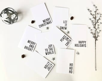 Holiday Cards, Holiday Card Set, Christmas Cards, Greeting Cards, Printed Cards, Minimalist Cards, Black and White, Set of 8, PHYSICAL PRINT