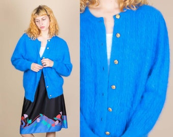 80s Fuzzy Angora Sweater - Extra Large // Vintage Blue Button Up Cardigan