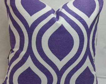 """Emily, large print, ogee cotton toss pillow or pillow cover, 18"""" square, thistle purple and white Active"""