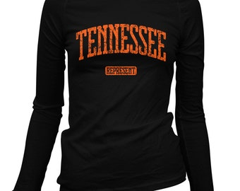 Women's Tennessee Represent Long Sleeve Tee - S M L XL 2x - Ladies' Tennessee T-shirt, Knoxville, Nashville, Memphis - 3 Colors