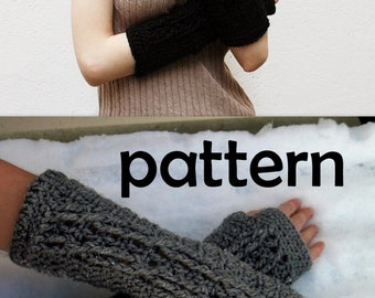 CROCHET PATTERN  Crossing Cables Fingerless Gloves - Pattern PDF