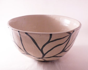 Sgraffito unique bowl, handmade bowl, modern style, modern bowl, decorative bowl, modern ceramic, ceramic bowl, ceramic and pottery