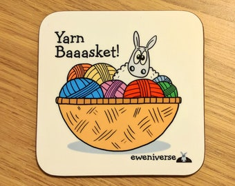 Yarn Baaasket! coaster, Sheep gifts, Crochet gift, Knitting gift,, Punny coaster, Fun home gift, Funny mat, Wool, Yarn lover gift, fun mat